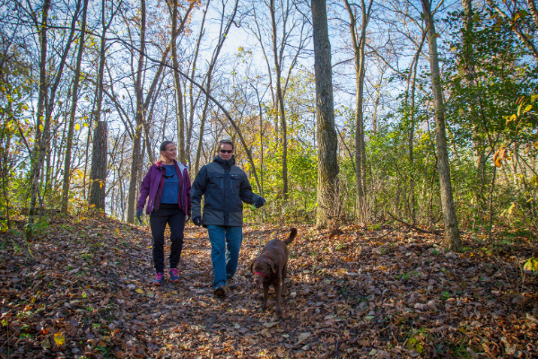Ice Age Trail Alliance, Hikers, Couple, Dog, Dog on Leash, Ice Age National Scenic Trail
