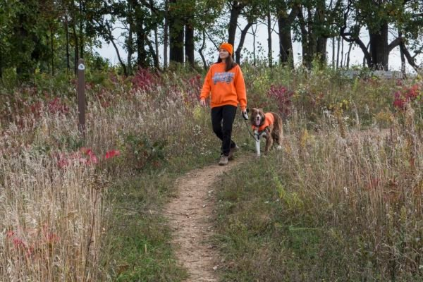 Ice Age National Scenic Trail, Ice Age Trail Alliance, Fall, Blaze Orange, Hunting Season, Hiker, Woman, Dog