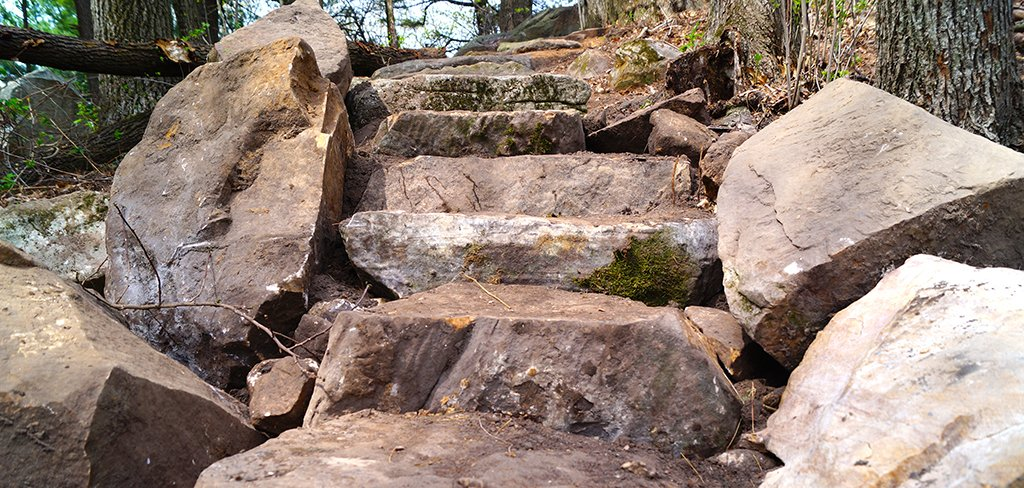 Stone steps on the Gibraltar Segment of the Ice Age Trail