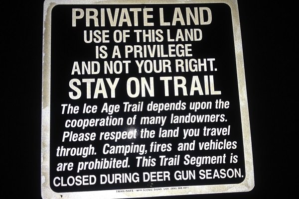 Please be respectful of Private Land signs.