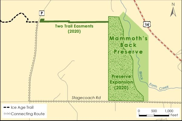 Ice Age National Scenic Trail, Ice Age Trail Alliance, Map, Mammoth's Back Preserve, Easement Connection