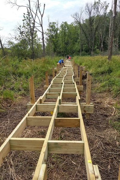 Ice Age Trail Alliance, Ice Age National Scenic Trail, Ice Age Trail, boardwalk, Valley View Segment, Mobile Skills Crew Events, MSC, Reconnect 2021