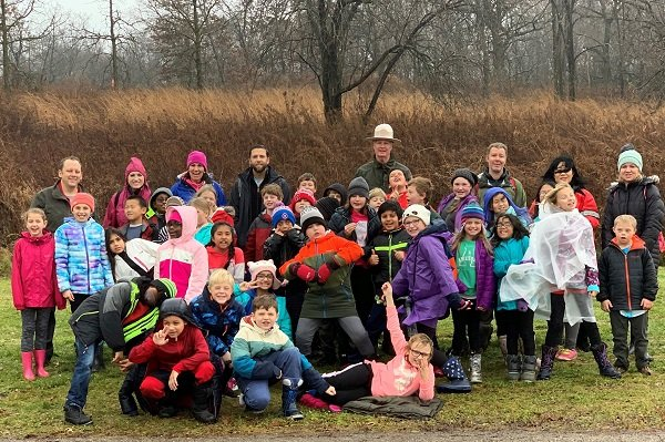Students from West Middleton Elementary School enjoyed a hike along the Indian Lake Segment. Photo by WMES staff.